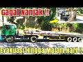 TRUK NISSAN GAGAL NANJAK !! EVAKUASI TRUK TRAILER  MUAT BESI ± 30TON HINGGA MALAM HARI !! diTanjakan