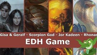 gisa geralf vs scorpion god vs jor kadeen vs rhonas edh cmdr game play for magic the gathering
