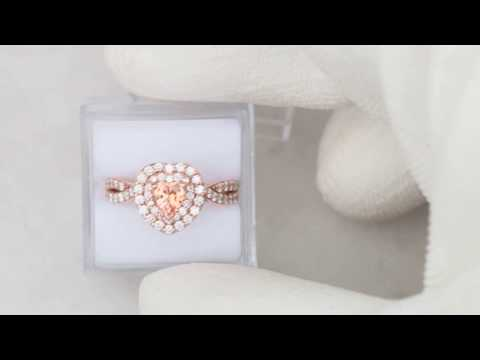 Heart Shape Peach Sapphire Rose Gold Engagement Ring