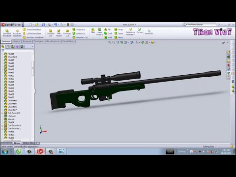 SolidWorks Tutorial : AWM Sniper Rifle