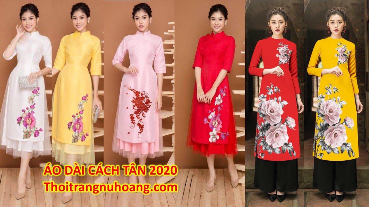 Áo dài cách tân 2020, nhiều mẫu mới, chất vải đẹp có đủ size từ 43-70kg