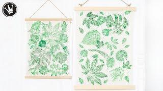 DIY - Frühlingsdeko selber machen   Wandbehang URBAN JUNGLE   Stoffdruck mit Blätter   Trend 2019