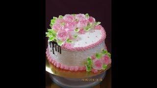 Торт украшеный белковым кремом/Красивый,нежный торт/ Розы из Белково-Заварного крема/Юлия Клочкова
