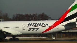 Emirates 1000th 777 a6-ego take off at hamburg airport
