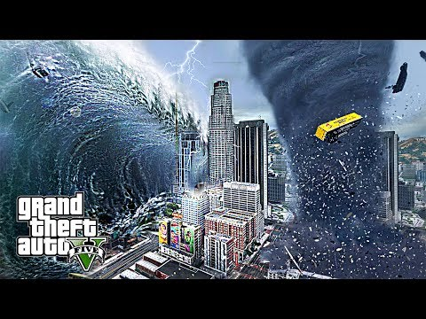 MEGA TSUNAMI AND TORNADO DESTROY LOS SANTOS - GTA 5 END OF LOS SANTOS APOCALYPSE MOD