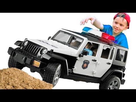 #Машинки для мальчиков Бетоновоз #BRUDER и лихач БМВ На помощь приехала Полиция Мультик про машинки