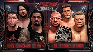 WWE RAW 3/21/16 - Roman Reigns, AJ Styles & Ambrose vs HHH, Brock Lesnar & Jericho - WWE RAW 2K16