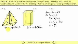Ilość wierzchołków w ostrosłupie i graniastosłupie | MatFiz24.PL