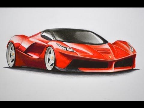 Dibujando carros: cómo dibujar un Ferrari con colores - Arte ...