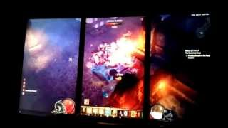 Diablo 3 Eyefinity Portrait x3 Landscape x1 7970 MAX settings debezeled monitor