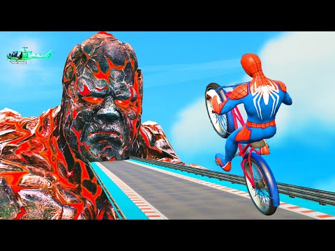 Bicycle Escape Titan Challenge - Spider Man & Hulk & Iron Man Competitive Racing Sky Road thumbnail