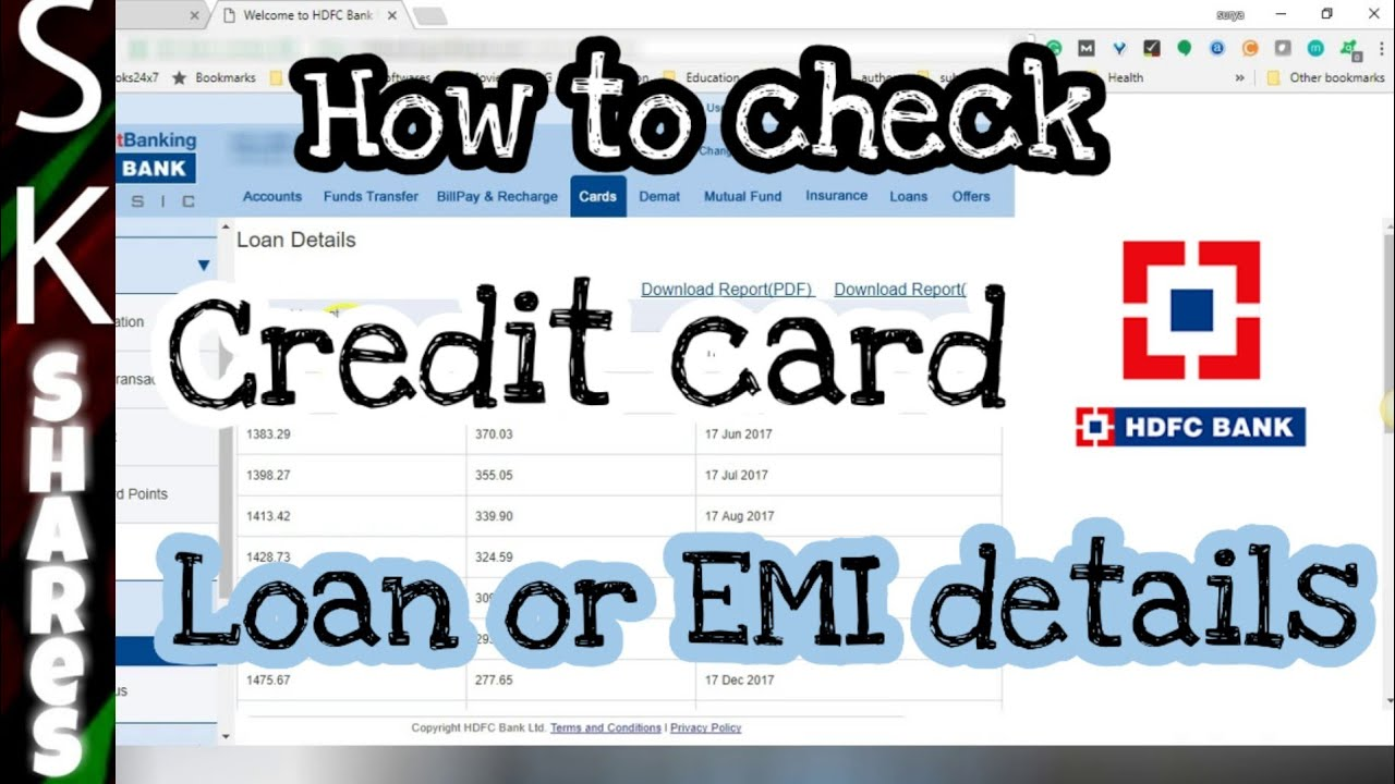 How to check Loan or EMI details on your HDFC Credit Card using HDFC Netbanking - YouTube