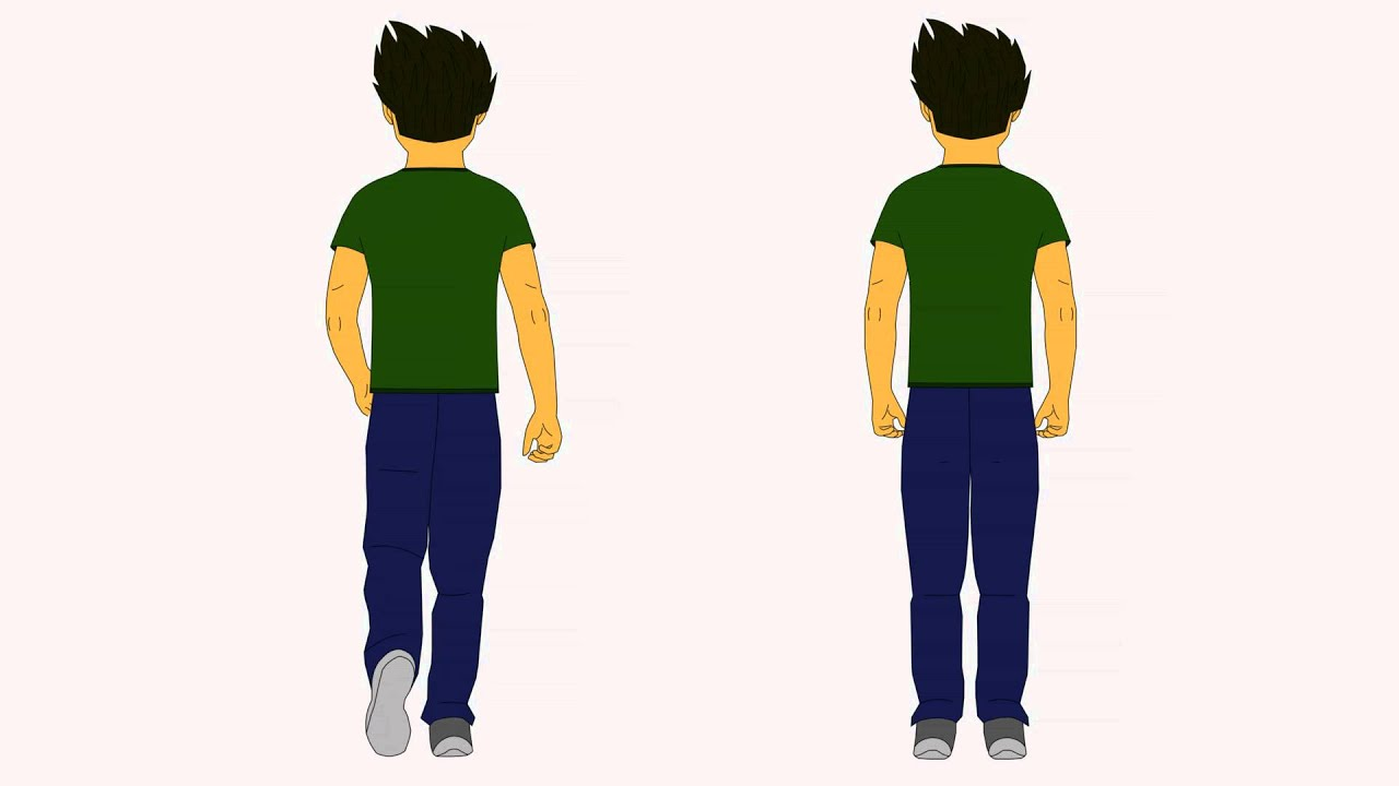 Male character 1 Back View Stand/Walk Cycle - YouTube