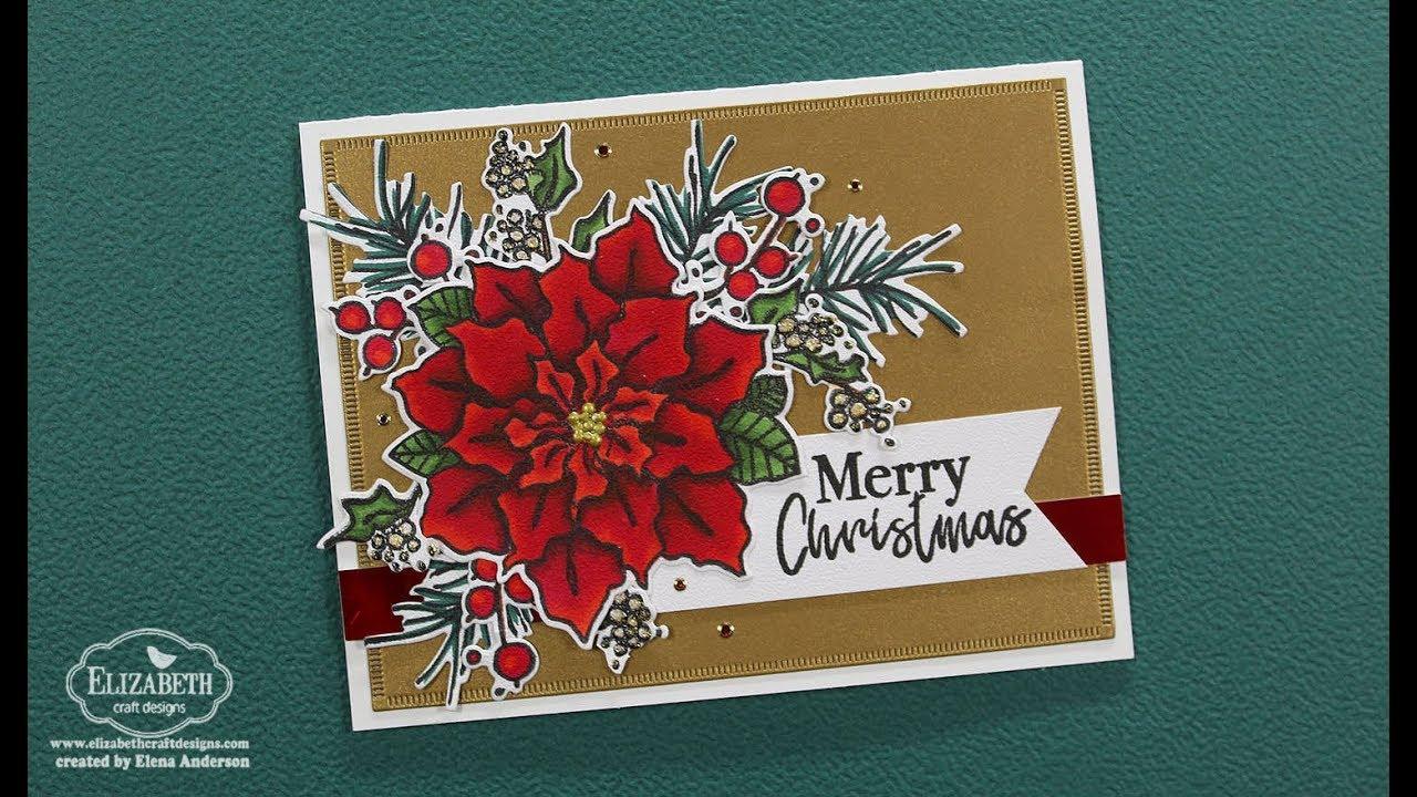 Classic Poinsettia Christmas Card for Elizabeth Craft Designs - YouTube