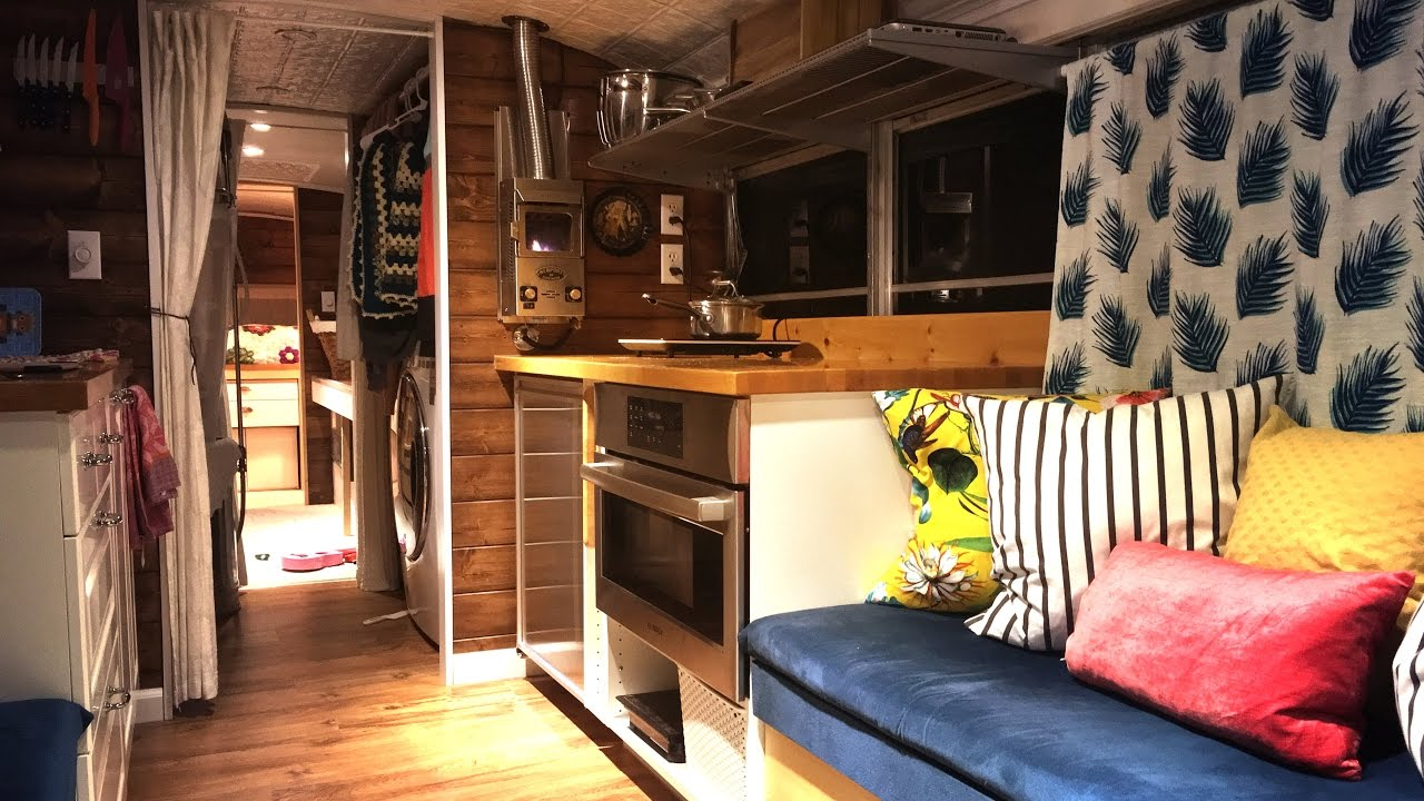Tiny House School Bus Conversion Take a tour YouTube
