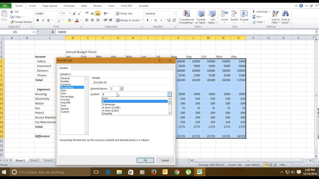 tutorial in english how to create annual budget sheet in microsoft