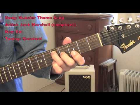 Munsters Theme Song (guitar lesson w/tabs) - YouTube