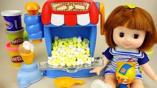 Baby doll and play doh Popcorn maker toys