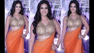 Bollywood Masala Hot Actress Sunny Leone In Orange Saree Spicy Video