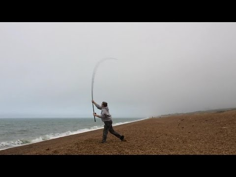 Casting Practice from Chesil Beach in the Mist