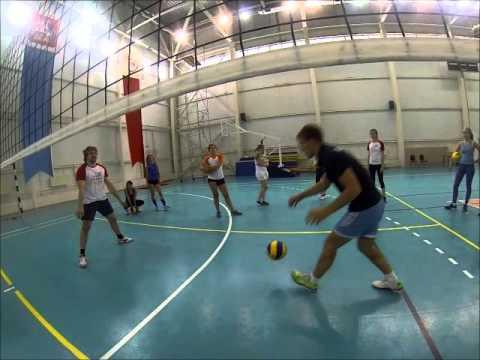 Упражнения по волейболу. Обучение нападающему удару, приему снизу.