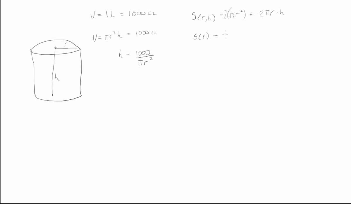 How to minimize the surface area of a can with a given volume how to minimize the surface area of a can with a given volume ccuart Choice Image