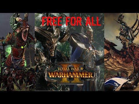 Lizardman vs Skaven vs High Elves vs Dark Elves | FREE-FOR-ALL - Total War: Warhammer 2