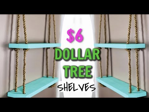 Dollar Tree DIY Hanging Rope Shelf (REAL WOOD)