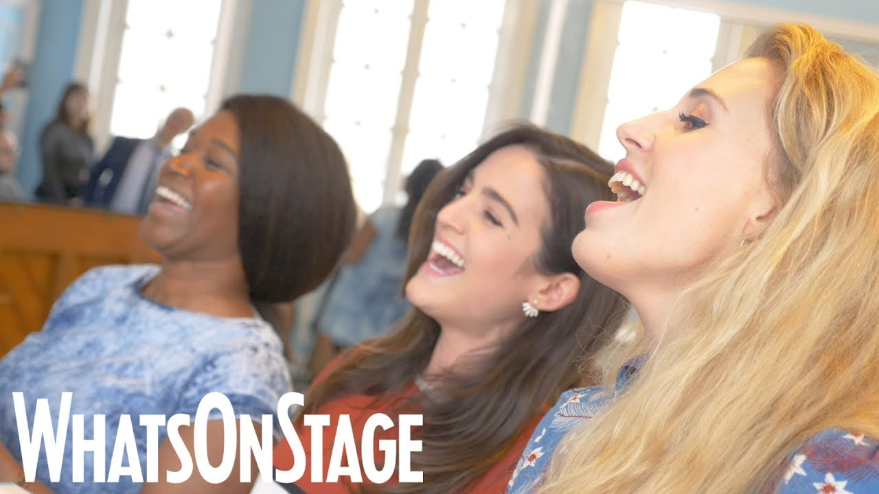 Rachel John, Lauren Samuels and Celinde Schoenmaker rehearse West End Women