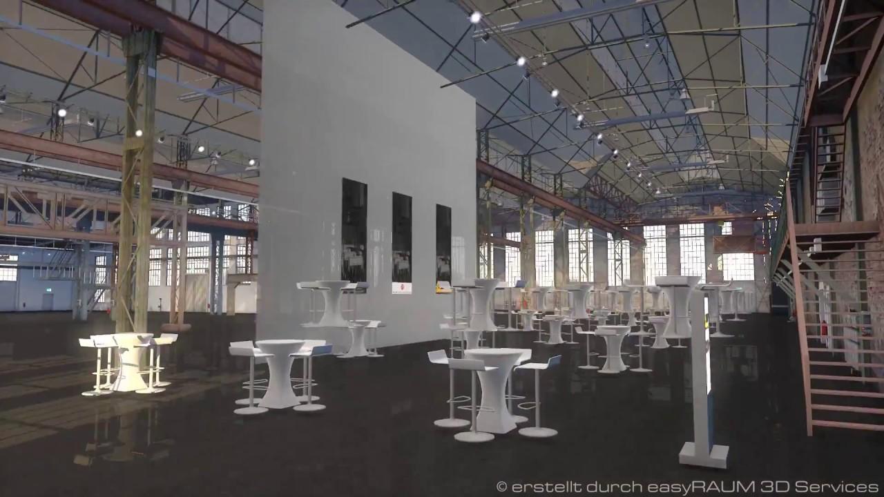 easyraum 3d cad event software visualisierung der schmiedehalle d sseldorf youtube. Black Bedroom Furniture Sets. Home Design Ideas