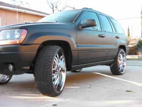 jeep grand cherokee on 24s flat black youtube jeep grand cherokee on 24s flat black