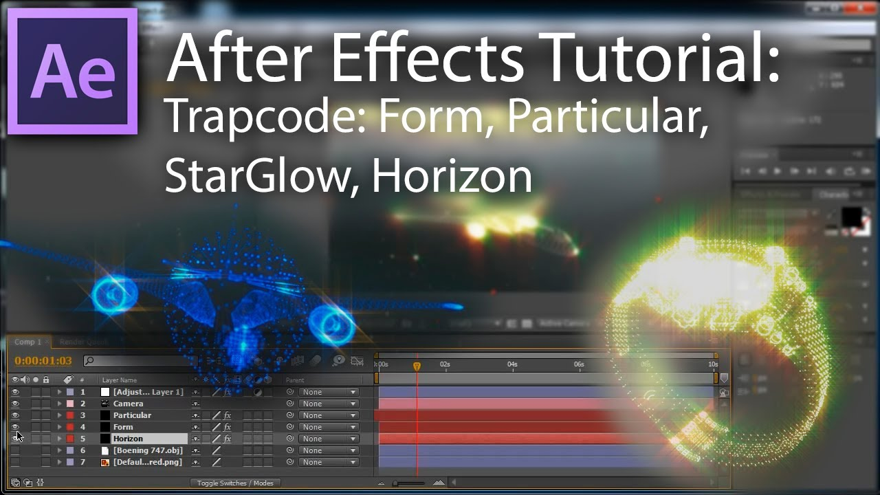 Tutorial ae how to use trapcode form particular horizon and starglow english youtube