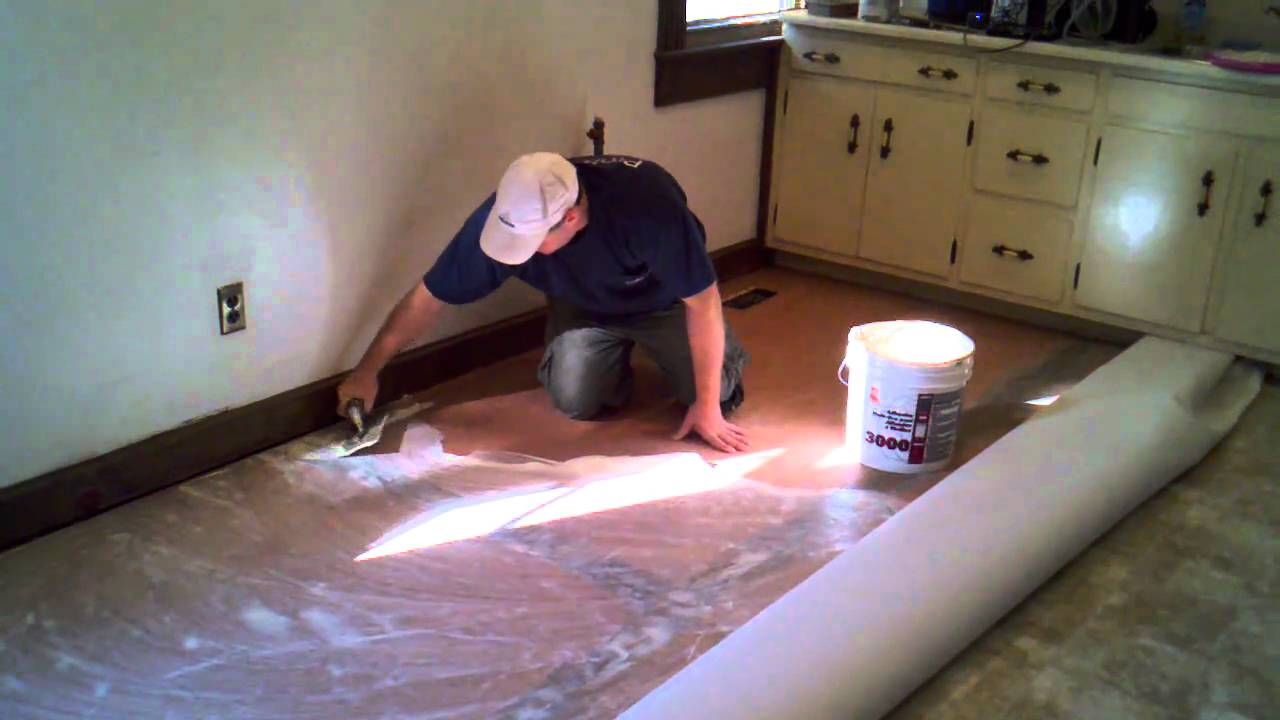 Kitchen Sheet Vinyl Flooring How To Cut In And Install A Vinyl Floor Youtube
