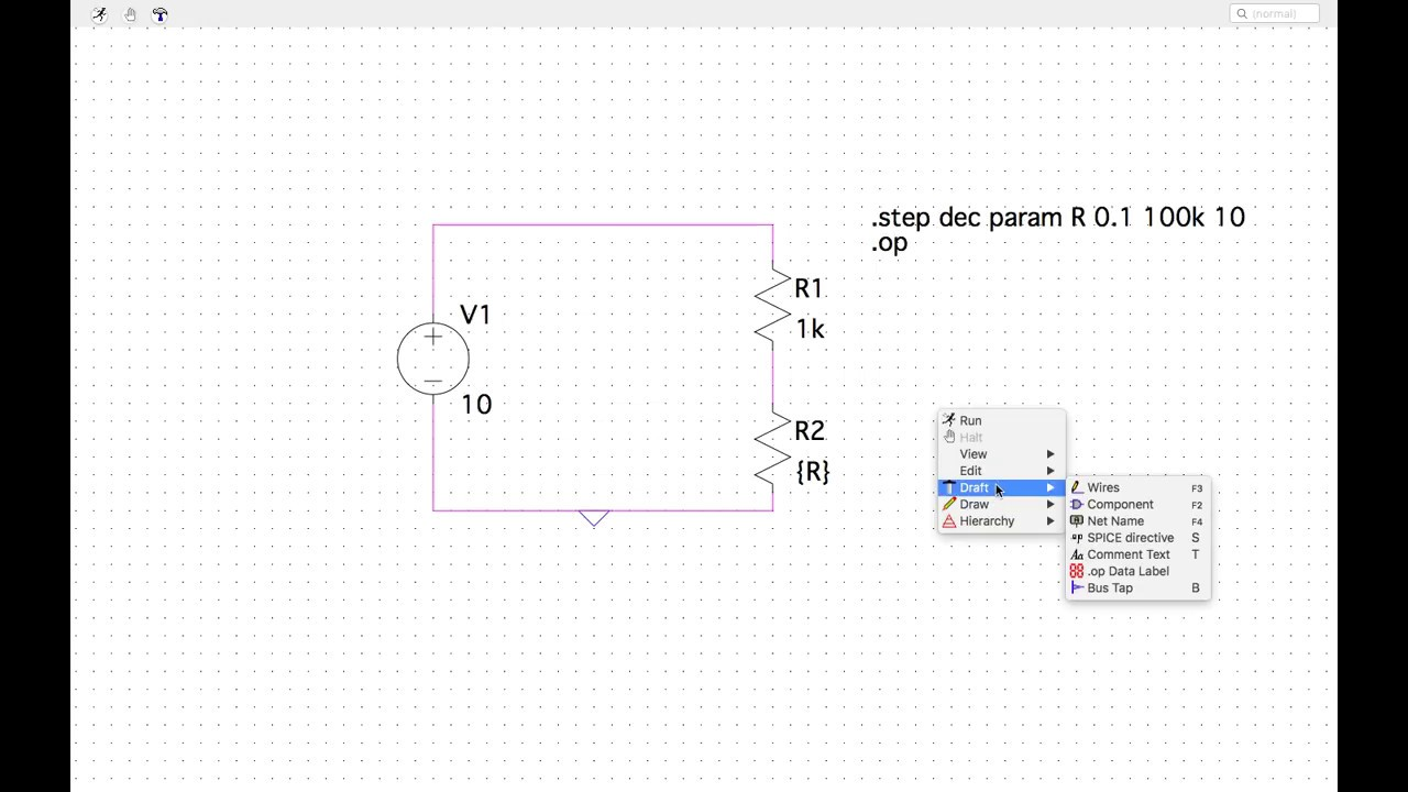 LTSpice intro - potentiometer, voltage divider and resistance sweeps