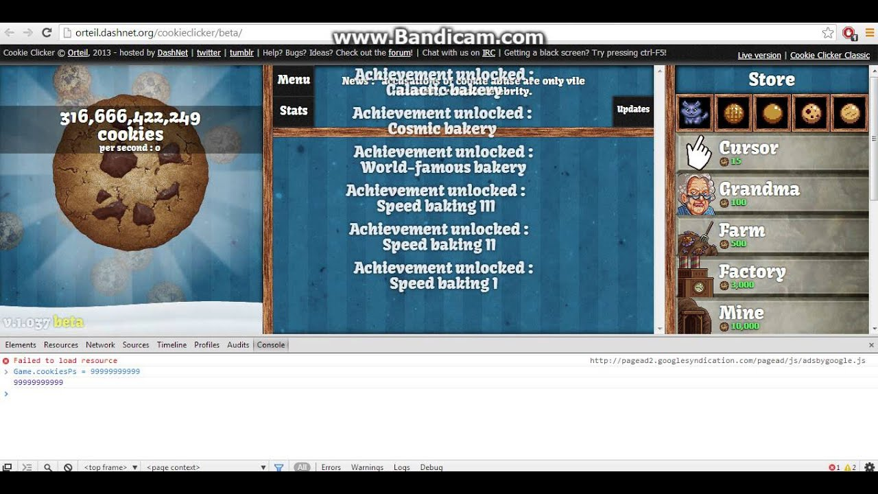 <b>Cookie Clicker Cheat</b> Console On Using