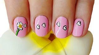Простой розовый маникюр на короткие ногти с Ромашкой