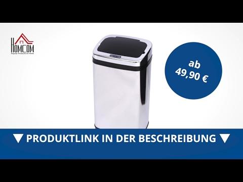 ein Abfalleimer aus Stahl mit... mDesign Mülleimer Küche für 15 L Müllbeutel