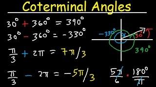 Coterminal Angles - Positive and Negative, Converting Degrees to Radians, Unit Circle, Trigonometry