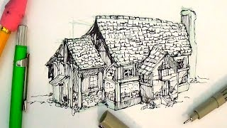 Pen and Ink Drawing Tutorials | How to draw a house