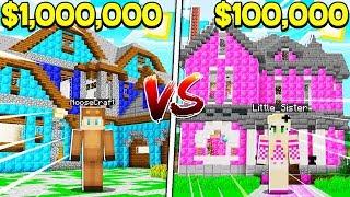 BOY vs GIRL $1,000,000 HOUSE BATTLE CHALLENGE in Minecraft! (Brother vs Sister)