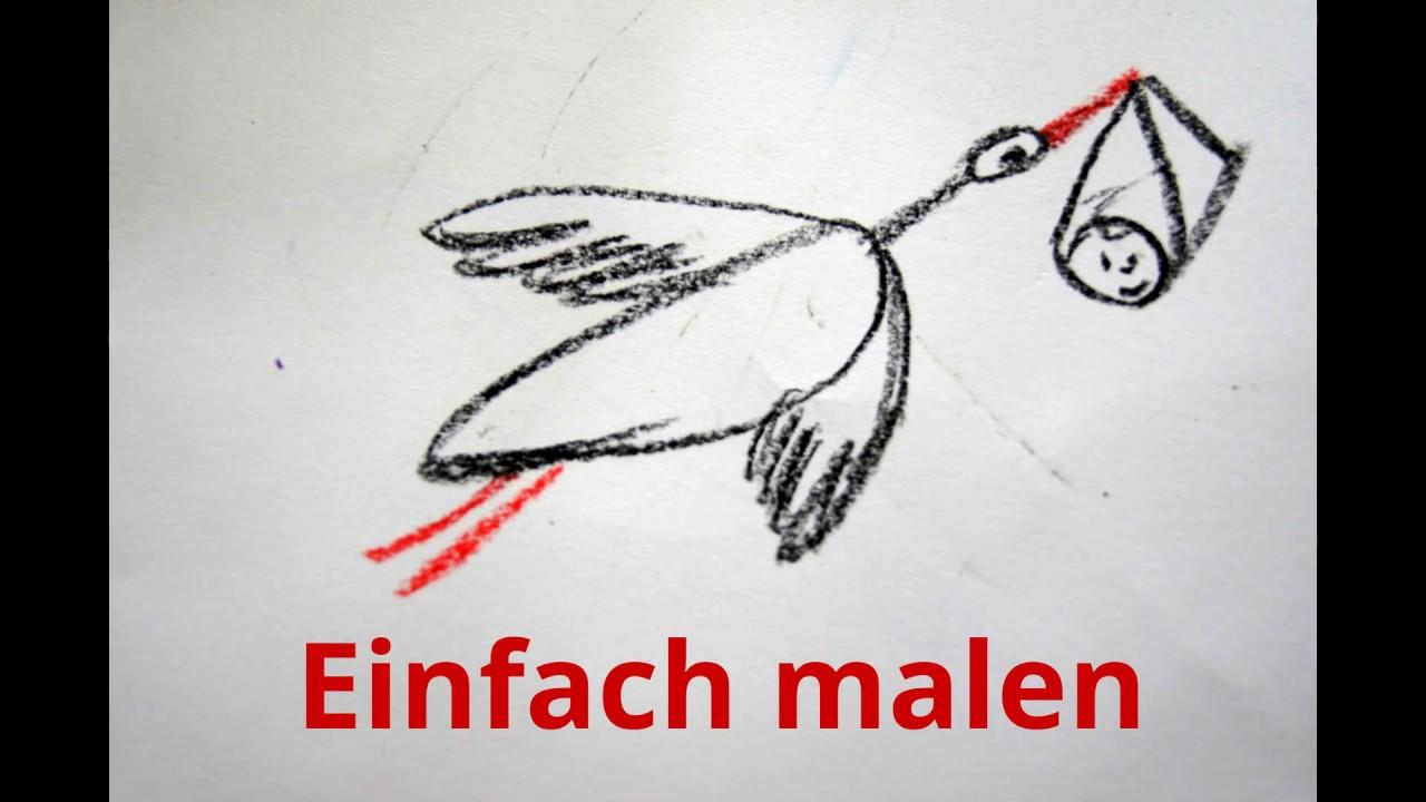 Zur Geburt Storch Zeichnen Lernen How To Draw A Stork With Baby Risuem Aist Prinosit Rebyonka Youtube
