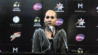 Elina Vesnina after pulling out - Hobart International 2014