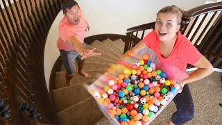 I DROPPED 5,000 BOUNCY BALLS On My Husband!!
