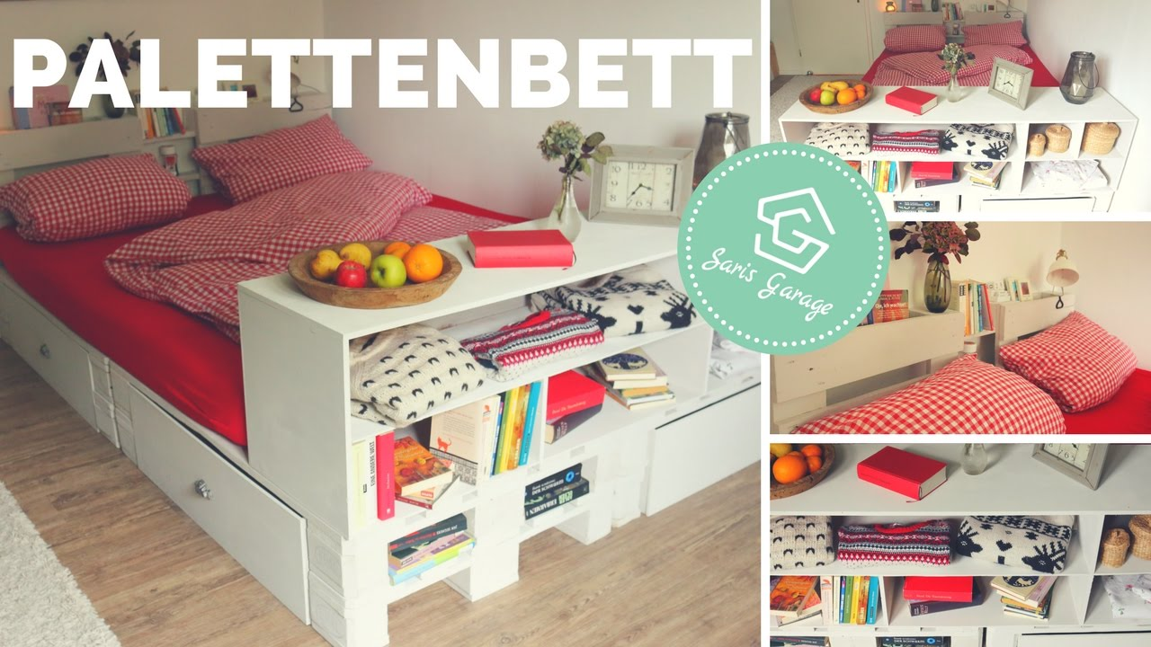 palettenbett selber bauen bett aus europaletten diy palettenm bel anleitung youtube. Black Bedroom Furniture Sets. Home Design Ideas