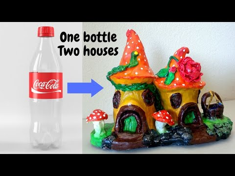 DIY Fairy house using a plastic bottle.