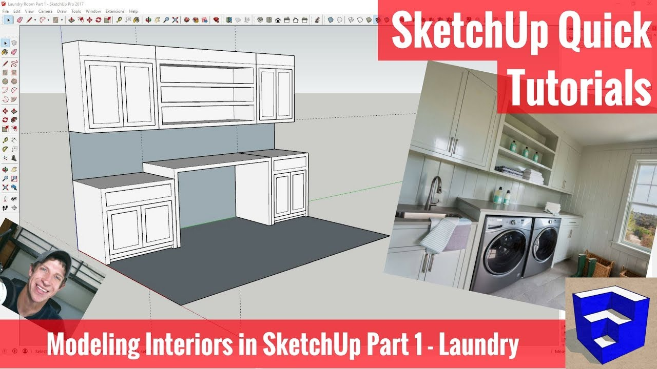 Modeling Interiors in SketchUp Part 1 - Laundry Room Model - The