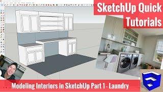 Modellierung von Interieur in SketchUp-Teil 1 - Waschküche-Modell