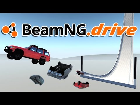 BeamNG.drive Gameplay - 5 Car Ski Jump! - Let's Play BeamNG.drive