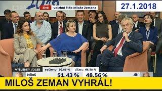 MILOŠ ZEMAN vyhrál II. kolo prezidentské volby 2018 / 66,6 procent občanů volilo