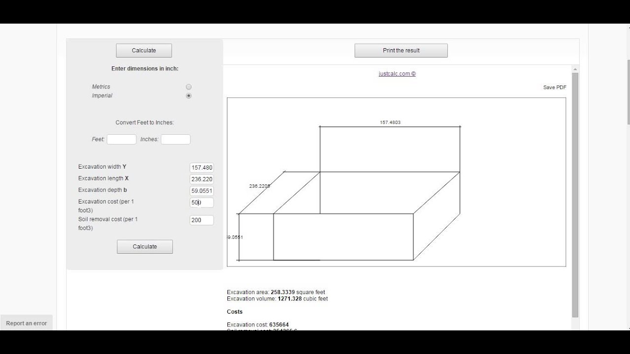Excavation calculator: cost and volume   JustCalc com